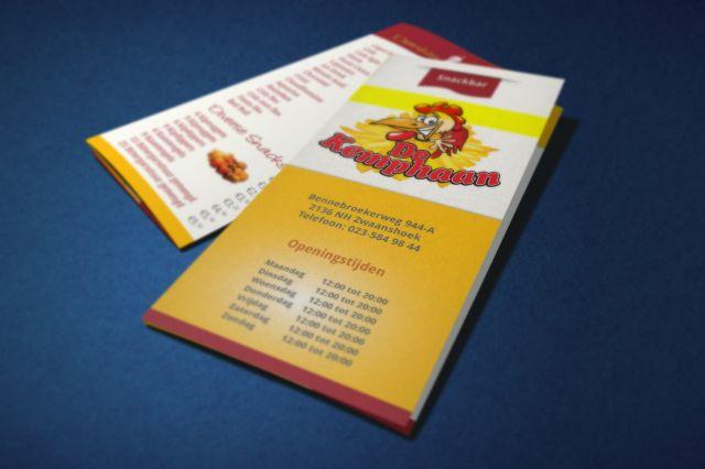 Drukwerk menukaart snackbar de Kemphaan